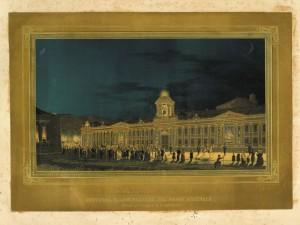 Illuminazione del Regio Arsenale verso Piazza San Secondo in occasione delle nozze di Vittorio Emanuele di Savoia e Maria Adelaide, nell'aprile 1842. © Archivio Storico della Città di Torino
