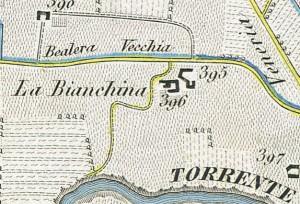 Cascina Bianchina e cascina Scaravella. Antonio Rabbini, Topografia della Città e Territorio di Torino, 1840. © Archivio Storico della Città di Torino