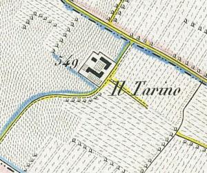 Cascina Il Tarino. Antonio Rabbini , Topografia della Città e Territorio di Torino, 1840. © Archivio Storico della Città di Torino