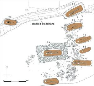 Planimetria della necropoli gota, da Pejrani Baricco 2007