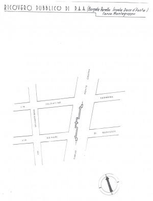 Planimetria del ricovero pubblico Borgata Parella, scala 1:1500. ASCT, Miscellanea sicurezza pubblica 58. © Archivio Storico della Città di Torino