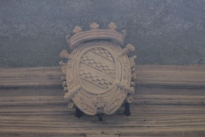 Stemma araldico dei marchesi Solaro della Chiusa, posto sopra l'ingresso al palazzo. Fotografia di Edoardo Vigo, 2012