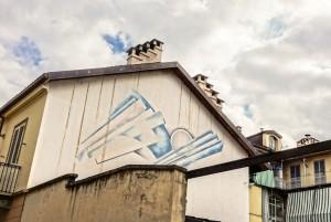 Livio Taricco, murale senza titolo, 1995, via Corio 21, MAU Museo Arte Urbana. Fotografia di Roberto Cortese, 2017 © Archivio Storico della Città di Torino
