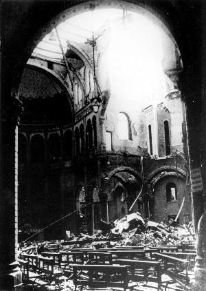 Bombardamento del 13 luglio 1943. L'interno con la cupola sventrata.