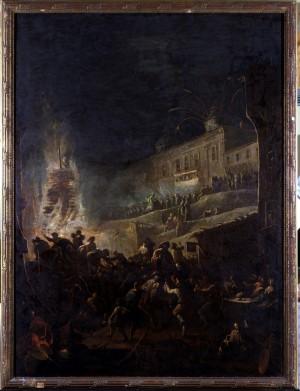Pietro Domenico Olivero (1679-1755), Festa notturna in onore di San Giovanni Patrono di Torino, 1743, olio su tela, cm.114x153. Torino, Museo Civico d'Arte Antica e Palazzo Madama, inv. 0220/D