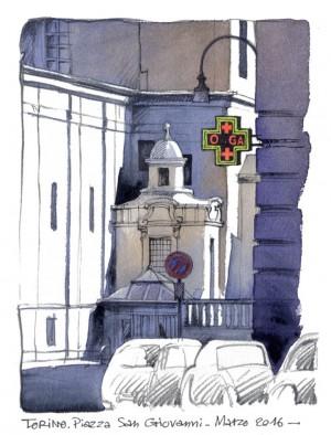 Lorenzo Dotti, Torino. Piazza San Giovanni, marzo 2016, acquerello