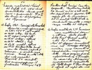 Diario dell'Istituto Lorenzo Prinotti, 1943. ASCT, Fondo Prinotti cart. 31 fasc. 11, 10, pp. 54-55. © Archivio Storico della Città di Torino