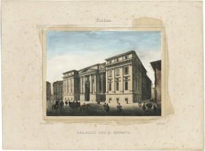 Palazzo dei Supremi Magistrati. Litografia acquerellata di D. Festa su disegno di E. Gonin, 1835. © Archivio Storico della Città di Torino.