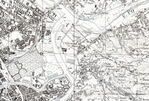 L'area del Galoppatoio nel 1969 (Istituto Geografico Militare di Firenze).