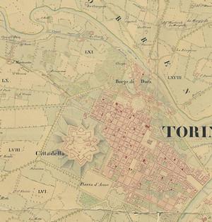 «Carta geometrica del territorio di Torino», 1833, particolare. © Archivio Storico della Città di Torino