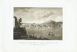 Veduta del Ponte Vittorio Emanuele I. Litografia su disegno di Nicolosino, 1827. © Archivio Storico della Città di Torino.