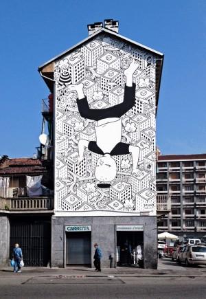 """""""Habitat"""" di Millo, muro dipinto in corso Vigevano 2. Fotografia di Millo, 2014"""
