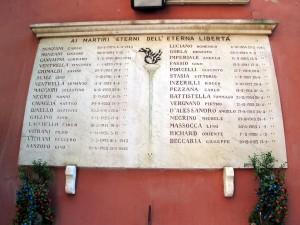 Lapide dedicata a trentun caduti partigiani