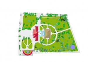Planimetria del parco Rignon e degli edifici al suo interno. © Servizio Edilizia per la Cultura.