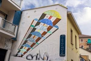 Stefano Martino, murale senza titolo, 1995, via san Rocchetto 34, MAU Museo Arte Urbana. Fotografia di Roberto Cortese, 2017 © Archivio Storico della Città di Torino