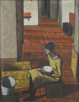 Felice Casorati (1883-1963), Ragazza con scodella (interno) (mattino), 1919-1920, tempera su tela, cm 114x145. Torino, GAM Galleria d'Arte Moderna (inv. P1541)