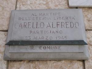 Lapide dedicata ad Alfredo Carello (1926 - 1945)