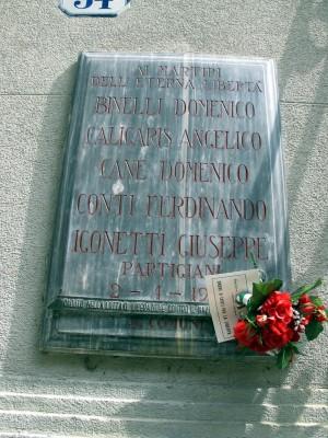 Lapide dedicata a Binelli Domenico, Caligaris Angelico, Cane Domenico, Conti Ferdinando, Igonetti Giuseppe