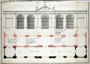 «Pianta, e Facciata del Porticato, che serve di Prospetto, ed Entrata nel Cimitero», 1776. © Archivio Storico della Città di Torino