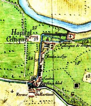 «Catasto Napoleonico», 1805, particolare. Lungo il «Canale del Martinetto» si notano i numerosi insediamenti industriali e la «ferme Martinet» sul «Canale di Torino». ©Archivio di Stato di Torino.