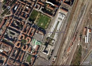 """Immagine aerea dell'area della """"Dogana"""" in http://earth.google.com."""
