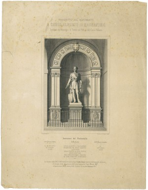 Luigi Cauda, Monumento a Carlo Alberto di Savoia, 1858. Litografia dei F.lli Doyen, 1859. © Archivio Storico della Città di Torino.