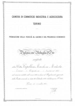 Cepollini Marchesa di F.lli Sestini, Argenti e preziosi, documento premiazione ditta, 1961
