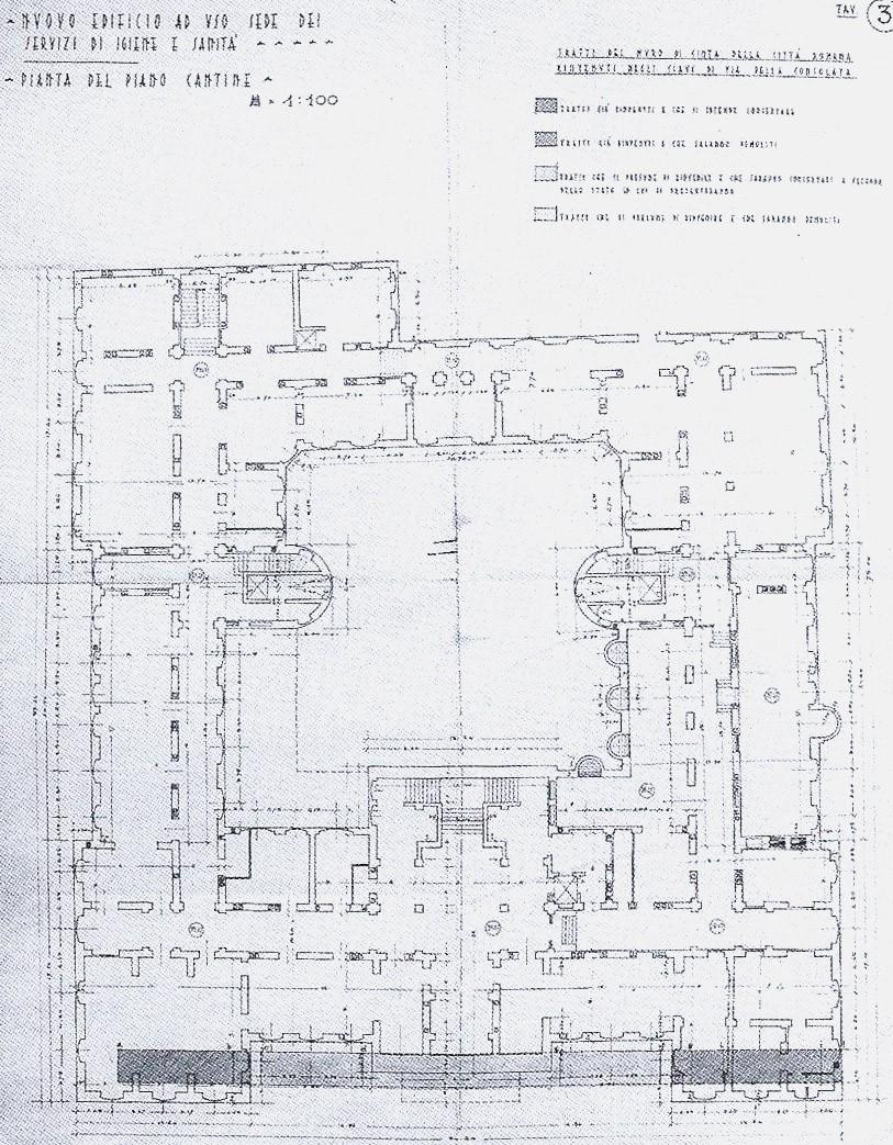 Mura della citt romana nel palazzo dei servizi di igiene for Progettista del piano interrato