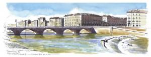 Lorenzo Dotti, Torino, Fiume Po, Ponte Vittorio Emanuele I, 3 marzo 2016, ore 12,51, acquerello
