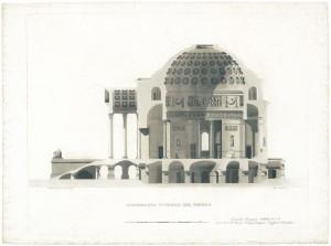 Sezione della chiesa della Gran Madre di Dio, disegnata dall'architetto Ferdinando Bonsignore. © Archivio Storico della Città di Torino