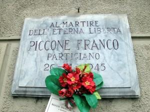 Lapide dedicata a Piccone Franco (1927 - 1945)