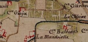 Cascina Balbiano e cascina Gioia. Carta delle Regie Cacce, 1816, © Archivio di Stato di Torino.