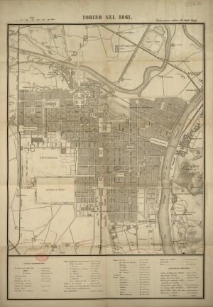 Torino nel 1861. Biblioteca civica centrale, Cartografico  3/4.13.01 © Biblioteche civiche torinesi