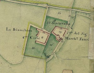 Cascina Bianchina e cascina Scaravella. Catasto Gatti, 1820-1830. © Archivio Storico della Città di Torino