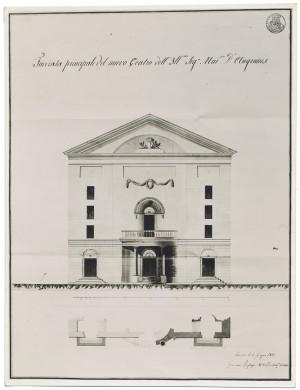 Giacomo Pregliasco, Facciata principale del nuovo teatro del marchese d'Angennes, 4 giugno 1821. © Archivio Storico della Città