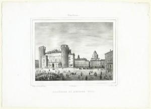 Palazzo Madama e piazza Castello. Litografia di D. Festa su disegno di E. Gonin, 1834. © Archivio Storico della Città di Torino