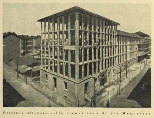 L'ossatura completata delle case in elementi prefabbricati.