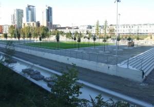 Il cantiere del lotto Valdocco nella sua fase conclusiva. Fotografia Comitato Parco Dora, ottobre 2010.