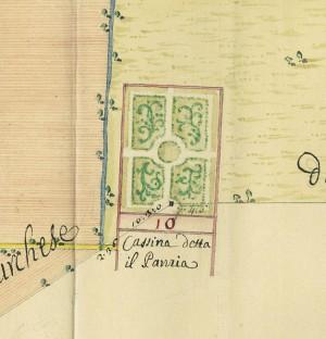 Cascina Pansa. Giovanni Francesco Clerico, Disegno dei territori tra Torino e Collegno, 1761. © Archivio Storico della Città di Torino