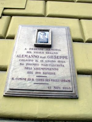Lapide dedicata a Giuseppe Alemanno (1914 - 1944)
