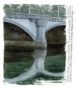 Lorenzo Dotti, Torino. Ponte di Sassi, ex Ponte Principi di Piemonte. 8 ottobre 2016 ore 15,27. Costruito tra il 1926 e il 1927 su progetto di Giuseppe Pagano Pogatschnig, acquerello