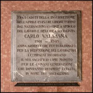 Lapide dedicata a Carlo Valsasna (1901 - 1945)