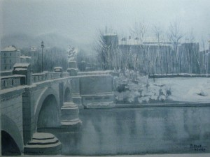 Alfredo Negro, Ponte Umberto I, 2003, acquerello