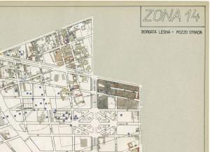 Bombe e mezzi incendiari lanciati 1:5000, 1942-1945. Zona 14: Borgata Lesna - Pozzo Strada. ASCT, Tipi e disegni, cart. 68, fasc. 1 disegno 14, quadrante 1. © Archivio Storico della Città di Torino