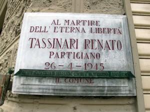 Lapide dedicata a Renato Tassinari (1914 - 1945)