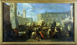 Pietro Domenico Olivero (1679-1755), Mercato presso la torre dell'orologio, XVIII secolo, olio su tela, cm 122x68,5. Torino, Museo Civico d'Arte Antica e Palazzo Madama, inv. 0632/D