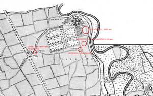 Localizzazione dei siti archeologici sulla Carta corografica dimostrativa del territorio di Torino, da Giovanni Amedeo Grossi 1791.