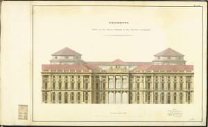 Prospetto di edificio per il Parlamento Nazionale ed Uffici pubblici sull'area del giardino già Carignano, Crida, 22 novembre 1860. © Archivio Storico della Città di Torino.