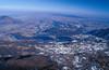 Vista aerea (da sud-ovest) dell'anfiteatro morenico di Rivoli-Avigliana. Sono bene riconoscibili i Laghi di Avigliana. Fotografia di Luca Percalli, in Paolo Baggio et al., 2003.