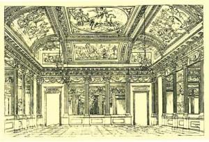 Caffè Vassallo, progetto del salone centrale dell'architetto Leoni pubblicato dal cav. Baratta, Torino 1842, si veda nota 2. (riproduzione da libro: A. Job, M. L. Laureati, C. Ronchetta, 1984, p. 146)